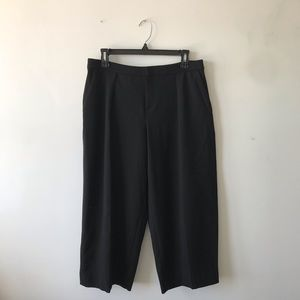 Club Monaco Black Cropped Wide Leg Culottes Pants